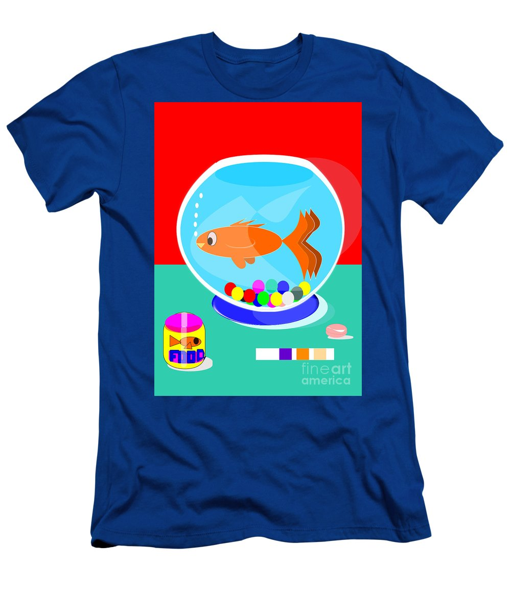 Fish Tank Men's T-Shirt (Athletic Fit) featuring the digital art Fish Tank With Fish And Complete Kit by Jon Fennel