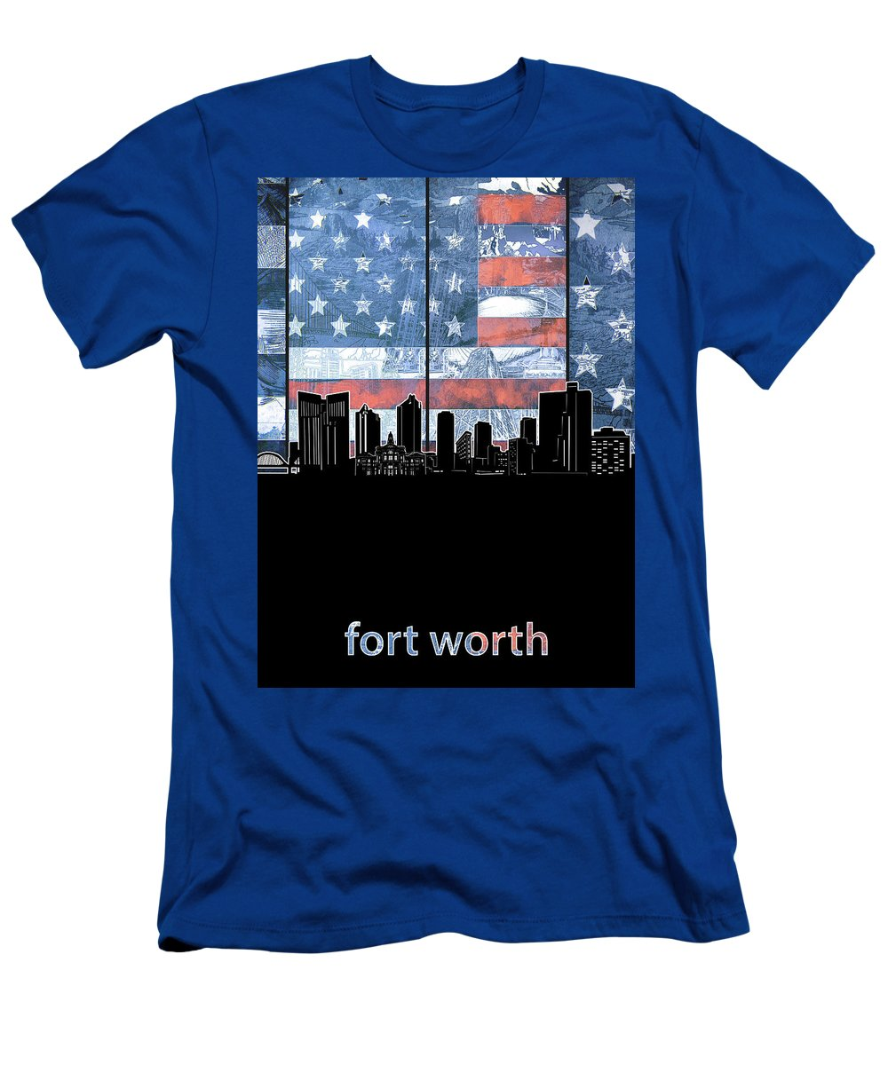 Fort Worth Men's T-Shirt (Athletic Fit) featuring the digital art Fort Worth Skyline Flag 3 by Bekim Art