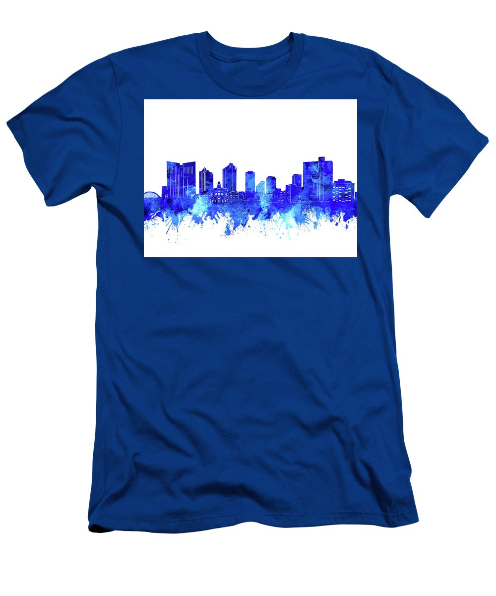 Fort Worth Men's T-Shirt (Athletic Fit) featuring the digital art Fort Worth Skyline Watercolor Blue by Bekim Art
