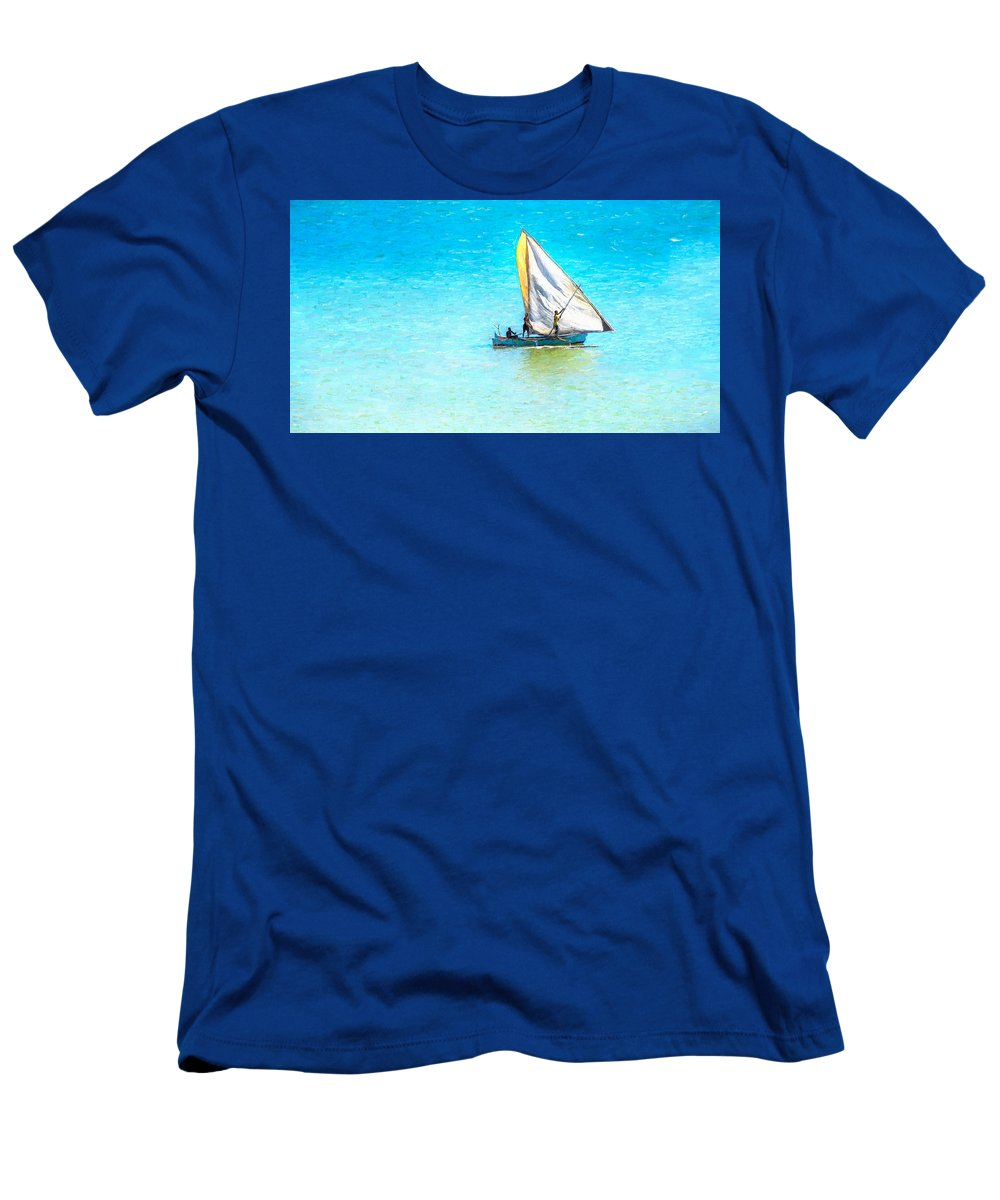 Boat Men's T-Shirt (Athletic Fit) featuring the digital art Going For Fish by Louloua Asgaraly