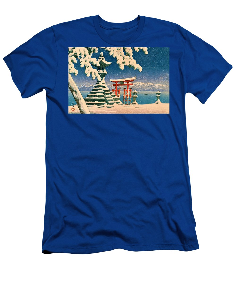 Kawase Hasui Men's T-Shirt (Athletic Fit) featuring the painting Itsukushia Temple - Top Quality Image Edition by Kawase Hasui