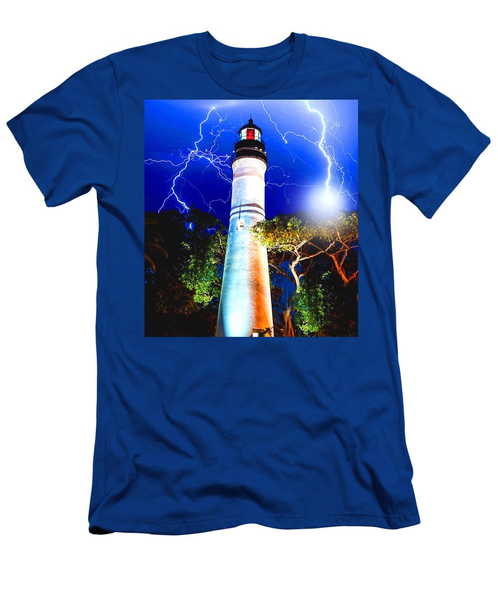 Key West Men's T-Shirt (Athletic Fit) featuring the mixed media Key West Lightning Light House by Jas Stem