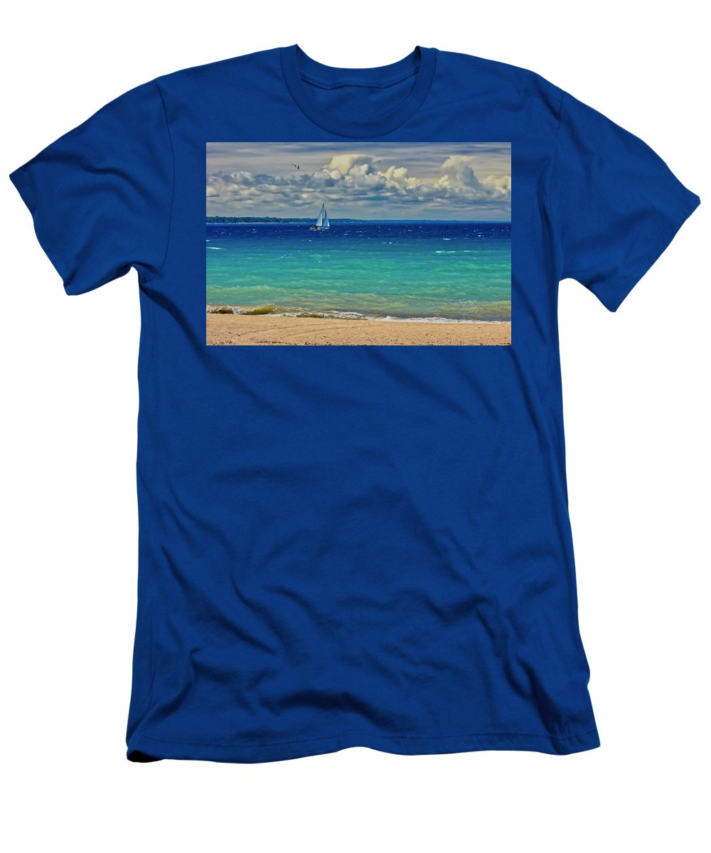 Sailboats T-Shirt featuring the photograph Lake Huron Sailboat by Meta Gatschenberger