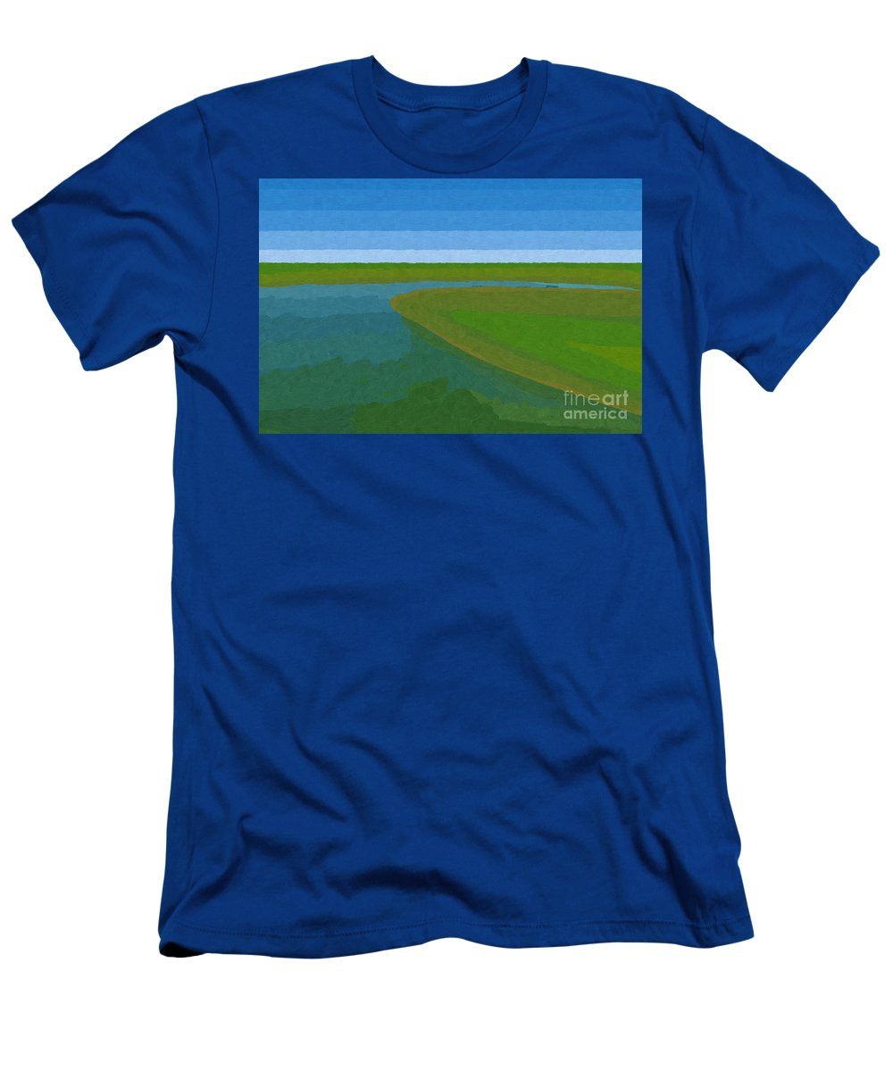 Pflugerville Men's T-Shirt (Athletic Fit) featuring the painting Lake Pflugerville Abstract Landscape by D Tao