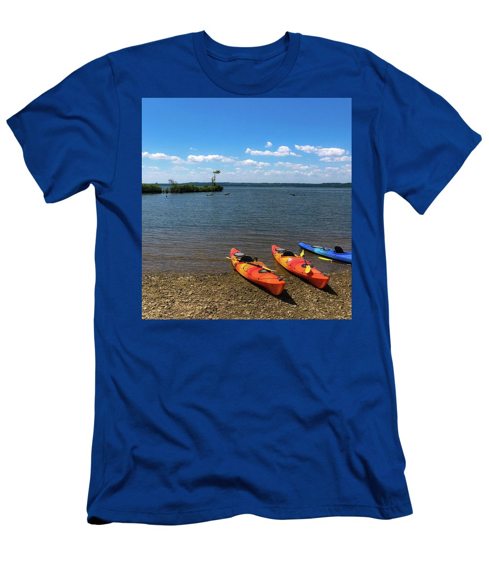 Mallows Bay Men's T-Shirt (Athletic Fit) featuring the photograph Mallows Bay And Kayaks by Lora J Wilson
