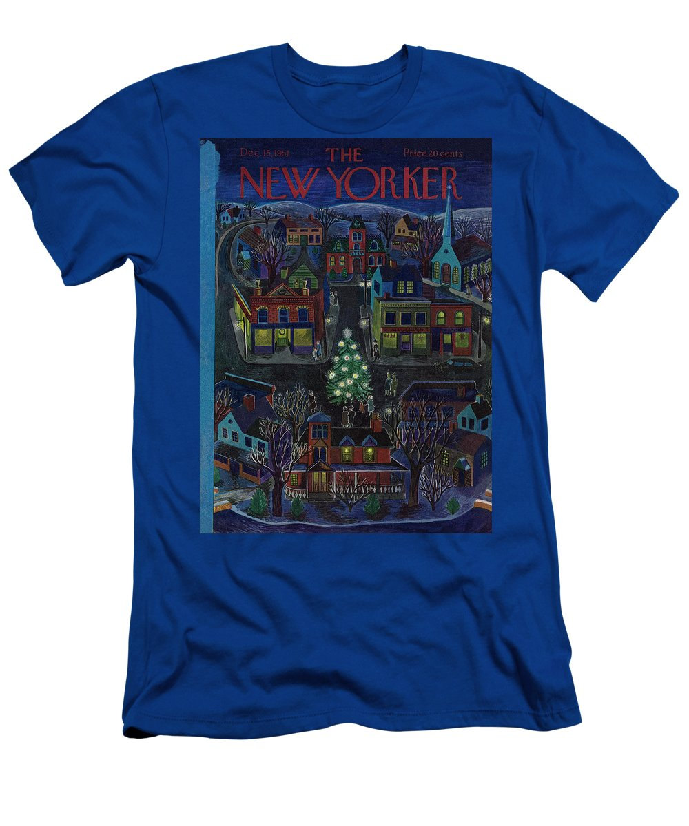 Suburb T-Shirt featuring the painting New Yorker December 15, 1951 by Ilonka Karasz