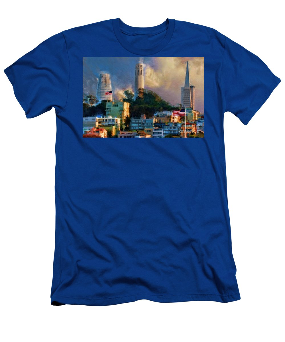 Salesforce Tower Men's T-Shirt (Athletic Fit) featuring the photograph Salesforce Tower Coit Tower Transamerica Pyramid by Blake Richards