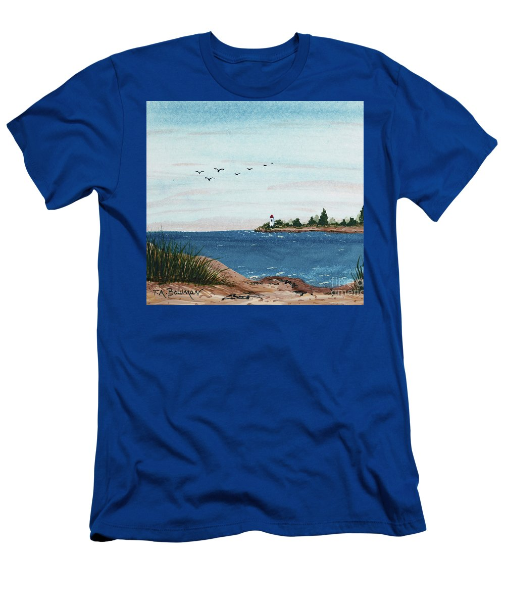 Seagulls Over Lighthouse Cove Men's T-Shirt (Athletic Fit) featuring the painting Seagulls Over Lighthouse Cove by Tracy Bowman