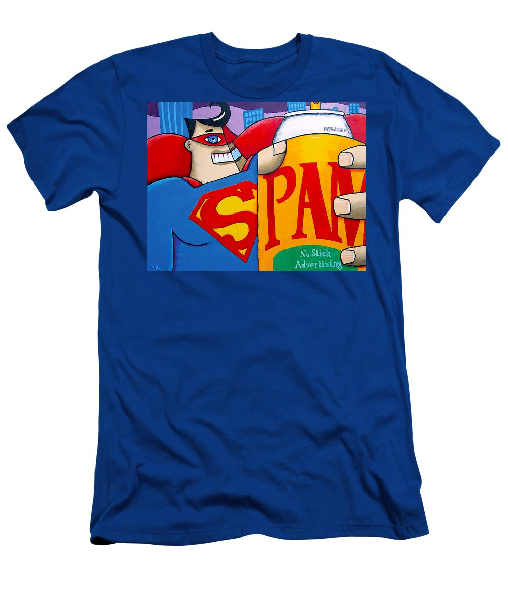 Superman Men's T-Shirt (Athletic Fit) featuring the painting Spam by Howard Weliver