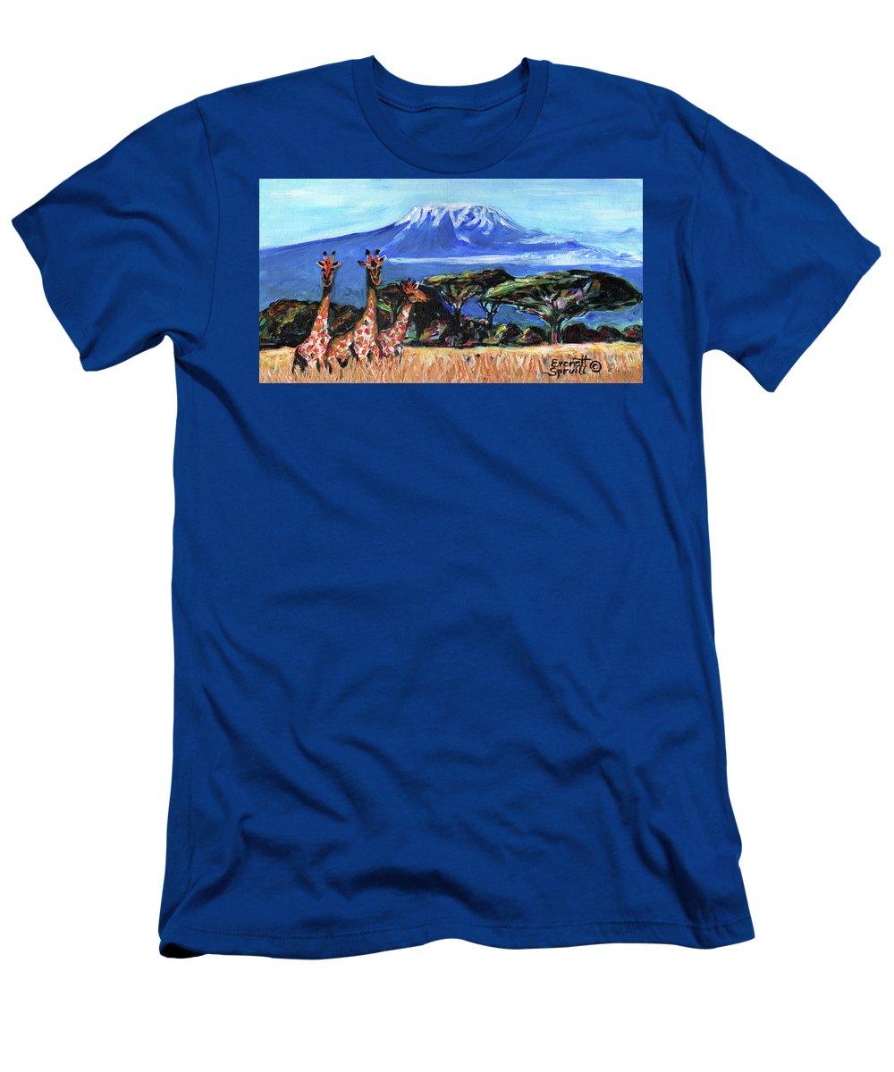Everett Spruill T-Shirt featuring the painting Three Giraffes by Everett Spruill