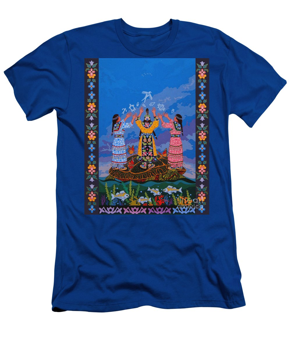 Indigenous T-Shirt featuring the painting Together We Over Come Obstacles by Chholing Taha