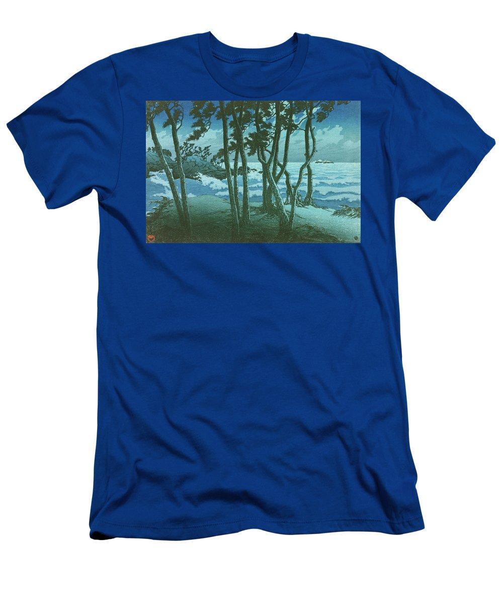 Kawase Hasui T-Shirt featuring the painting Travel souvenir third collection, Izumo, Hinomisaki - Digital Remastered Edition by Kawase Hasui