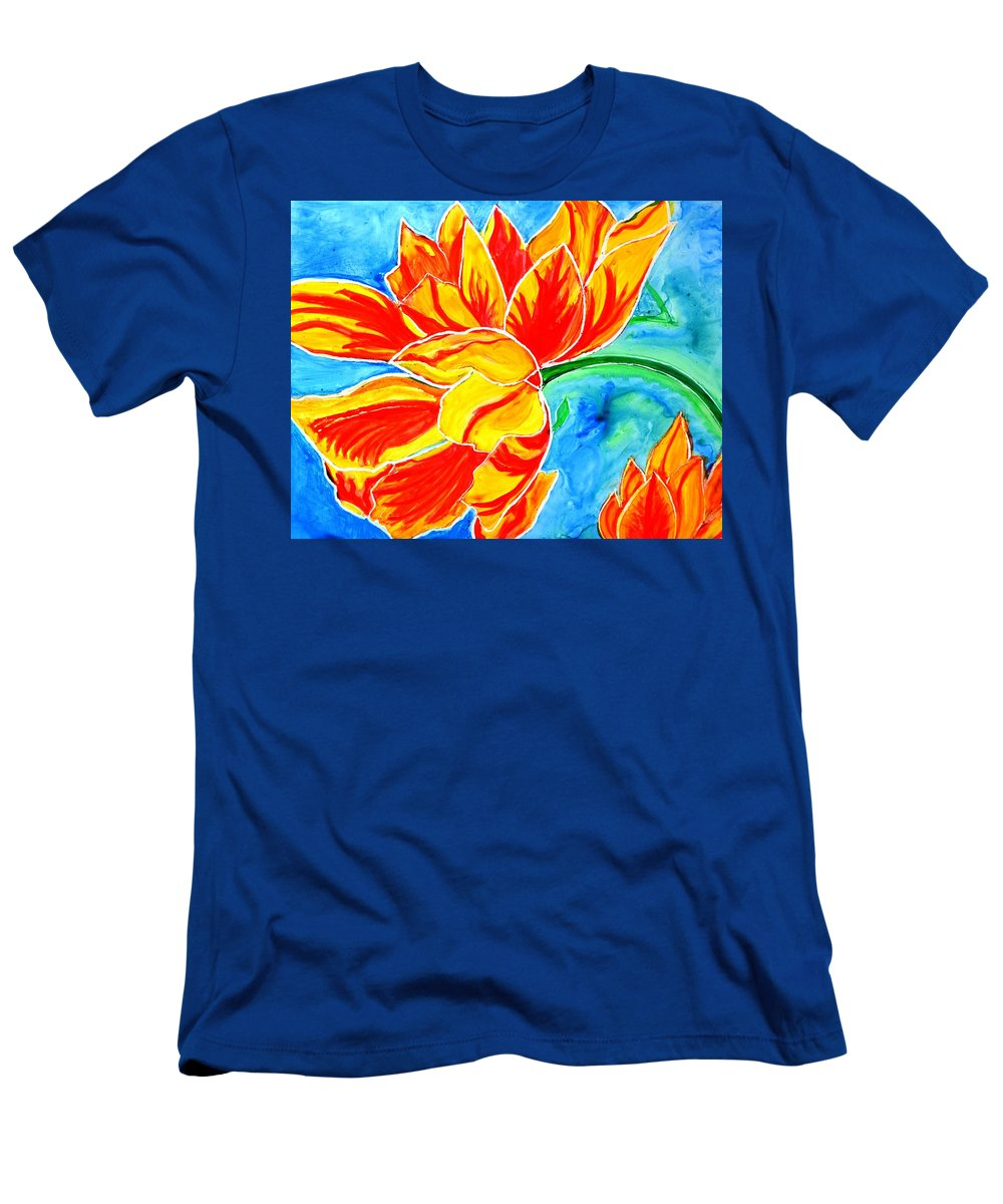 Tulips T-Shirt featuring the painting Tulips vibrant and colorful by Manjiri Kanvinde