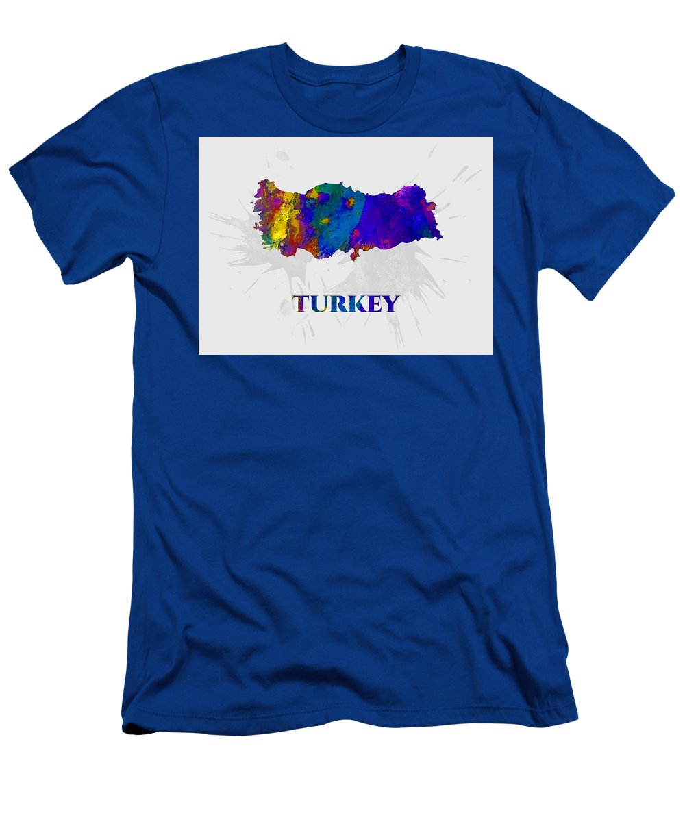 Turkey Men's T-Shirt (Athletic Fit) featuring the mixed media Turkey, Map, Artist Singh by Artist Singh MAPS