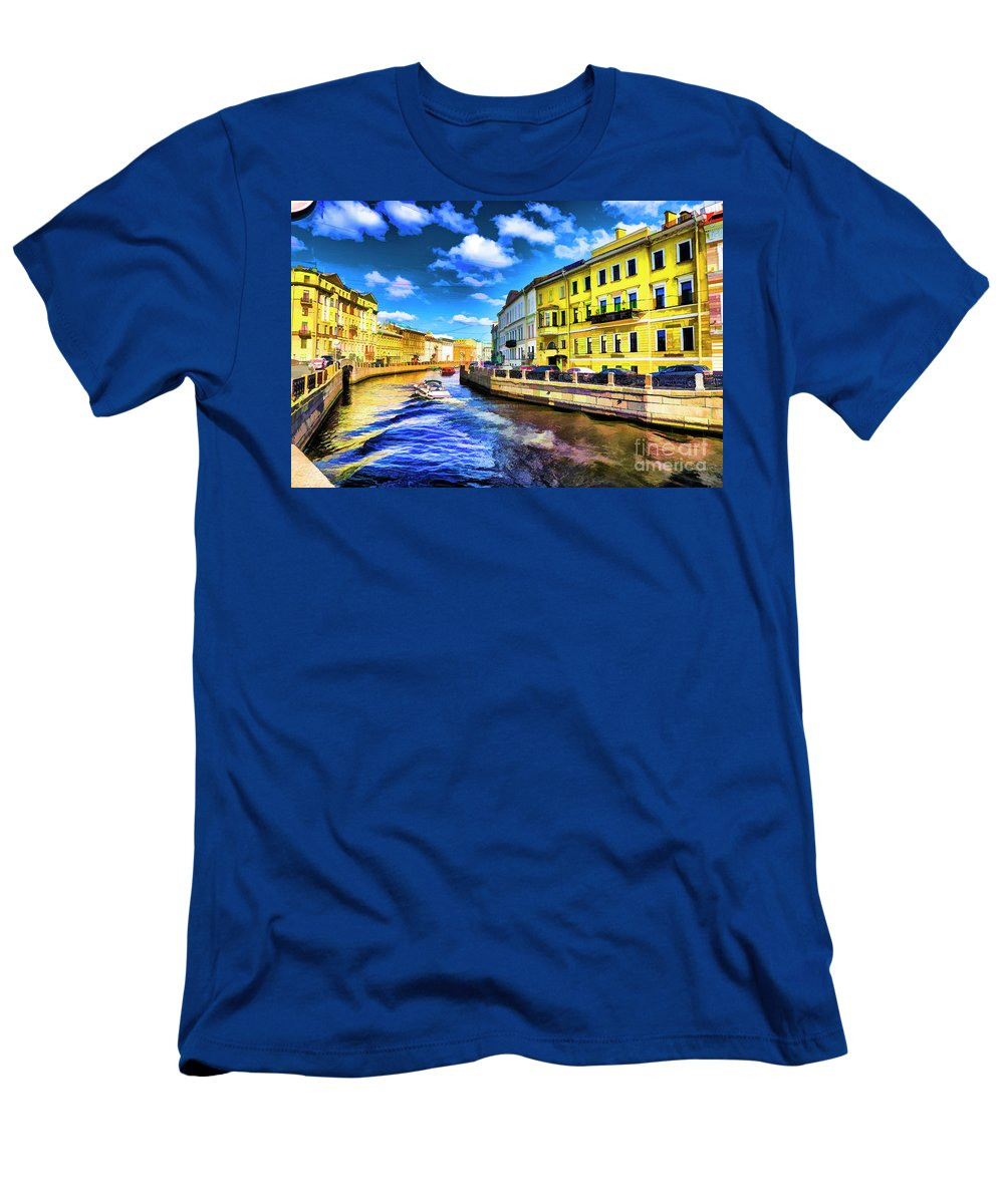 St Petersburg Russia Canals Men's T-Shirt (Athletic Fit) featuring the photograph Yellow Canal by Rick Bragan