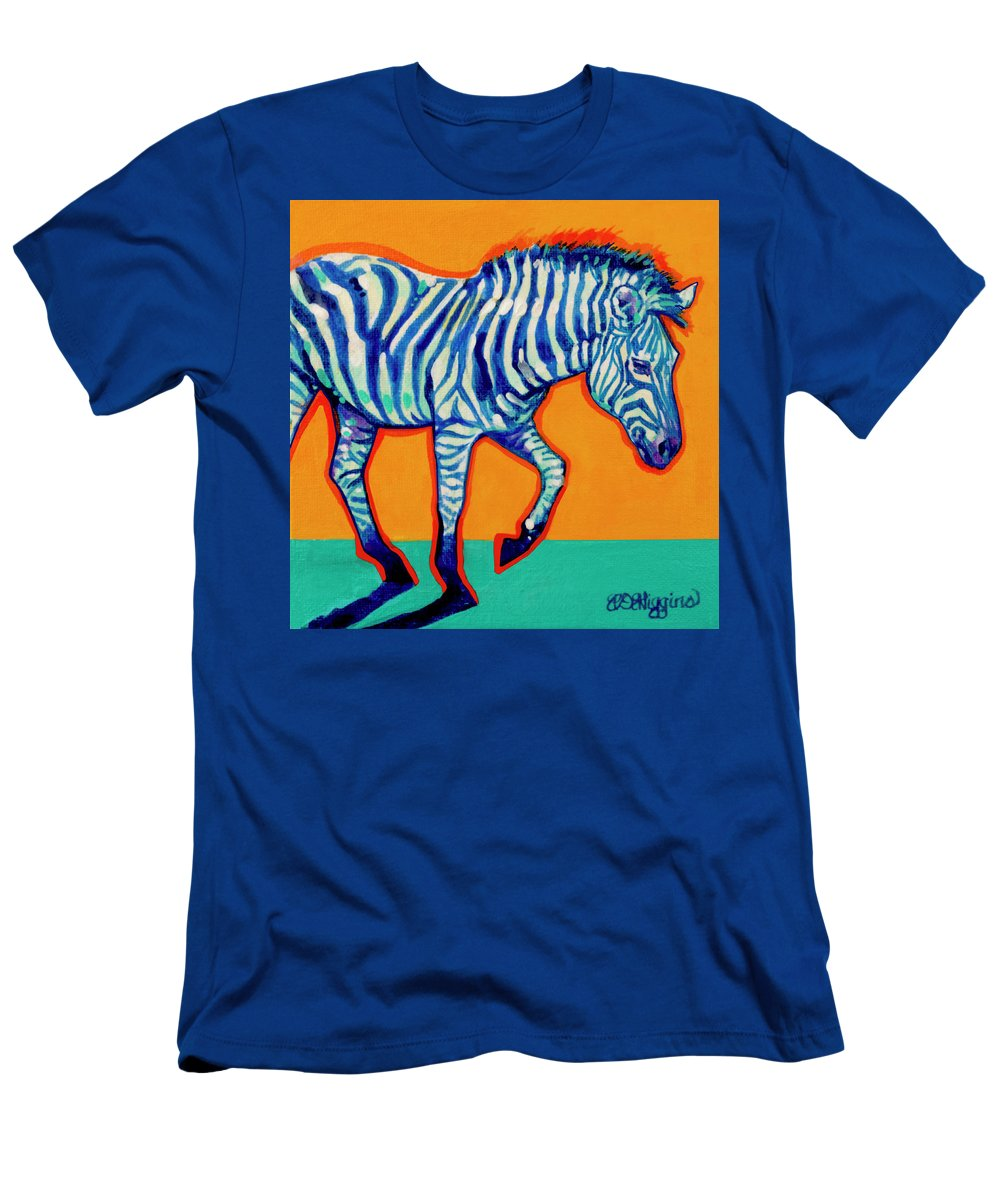Zebra Men's T-Shirt (Athletic Fit) featuring the painting Zebra by Derrick Higgins