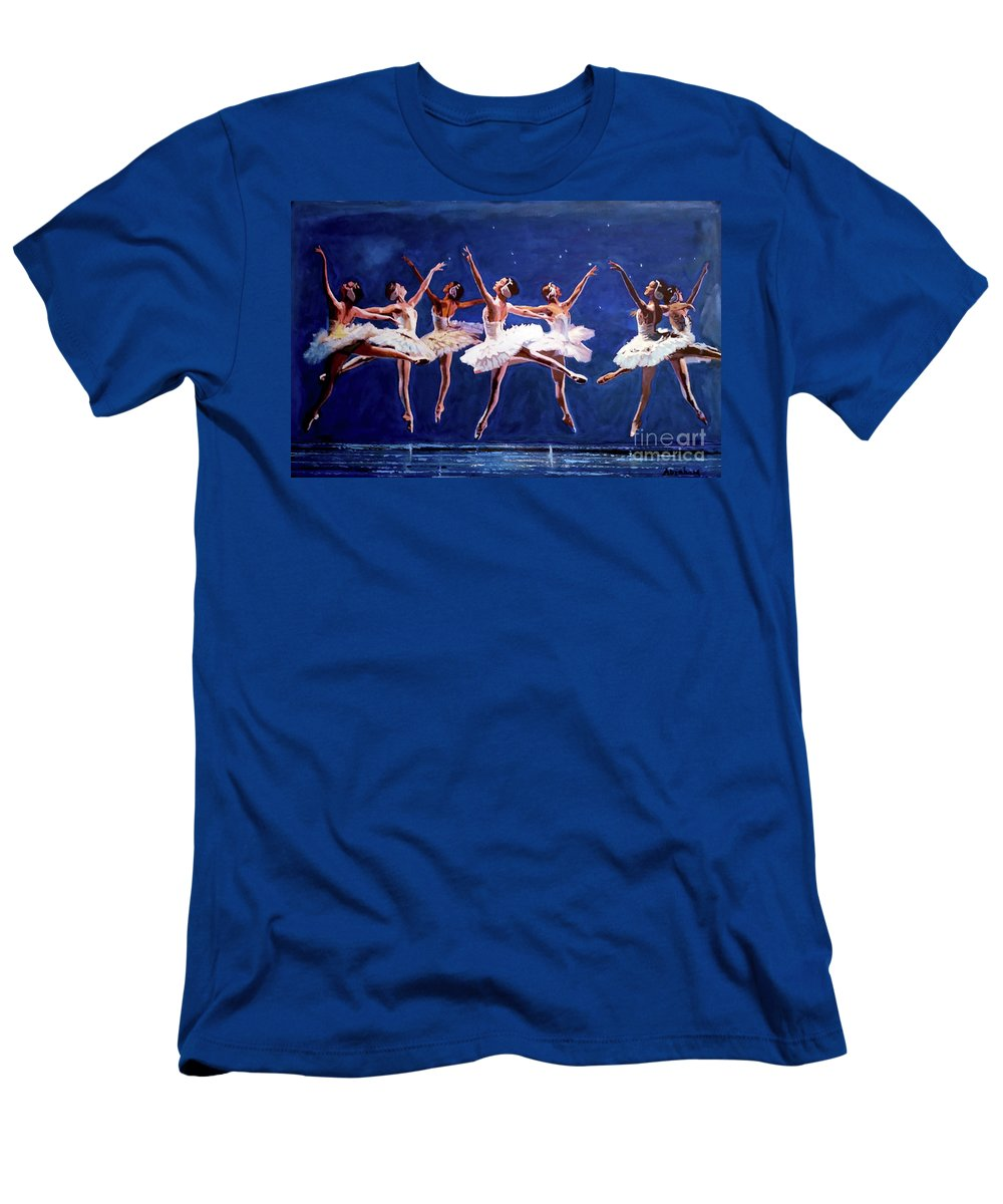 Dancing T-Shirt featuring the painting Ballerinas by Jose Manuel Abraham