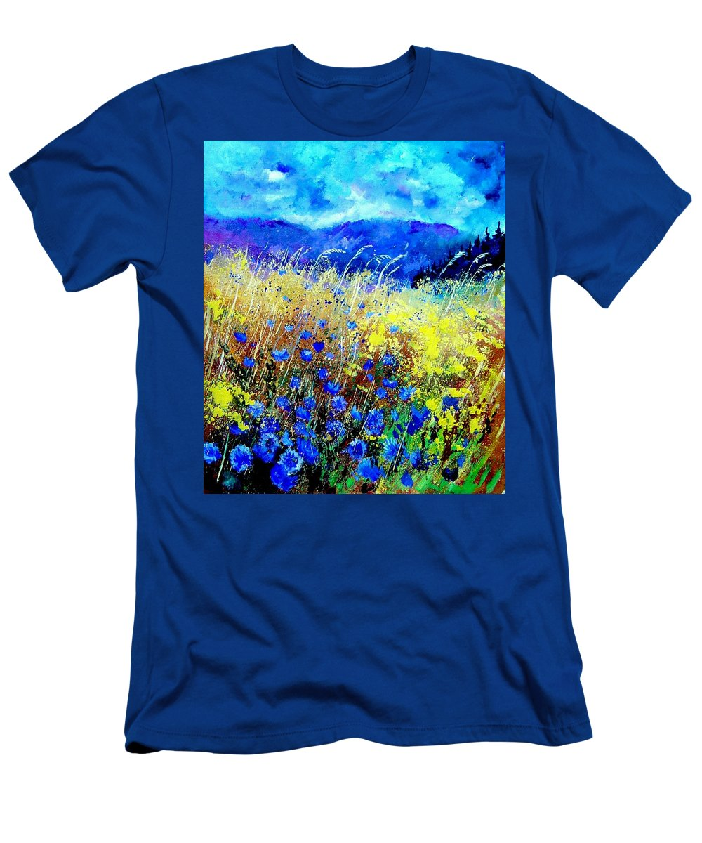 Poppies T-Shirt featuring the painting Blue cornflowers 67 by Pol Ledent