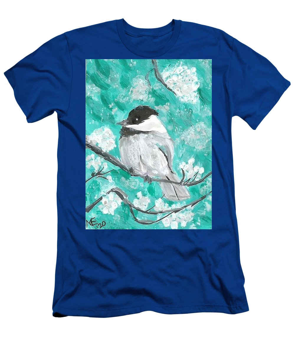Chickadee Painting T-Shirt featuring the painting Chickadee by Monica Resinger
