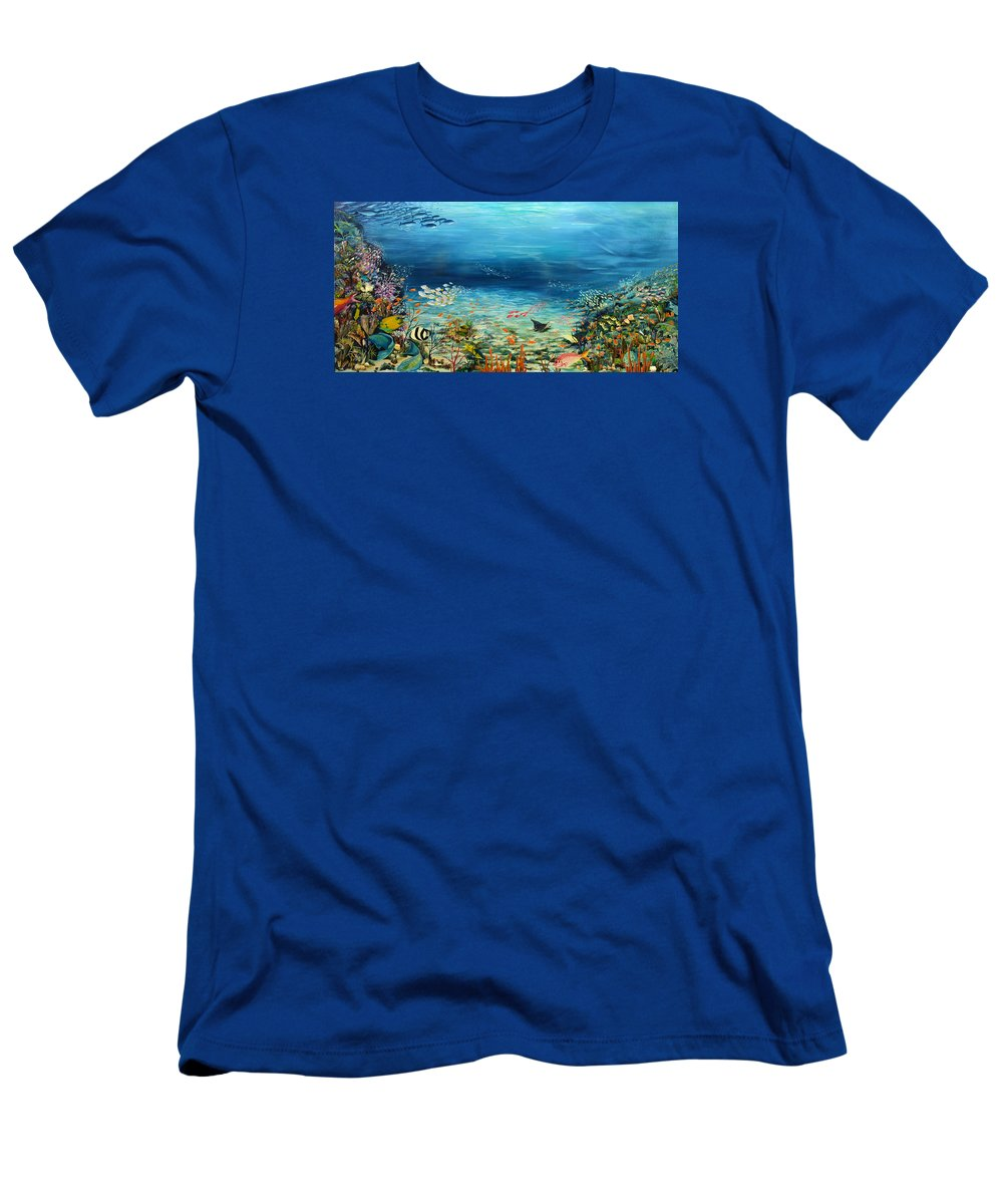 Ocean Painting Undersea Painting Coral Reef Painting Caribbean Painting Calypso Reef Painting Undersea Fishes Coral Reef Blue Sea Stingray Painting Tropical Reef Painting Tropical Painting T-Shirt featuring the painting Deep Blue Dreaming by Karin Dawn Kelshall- Best