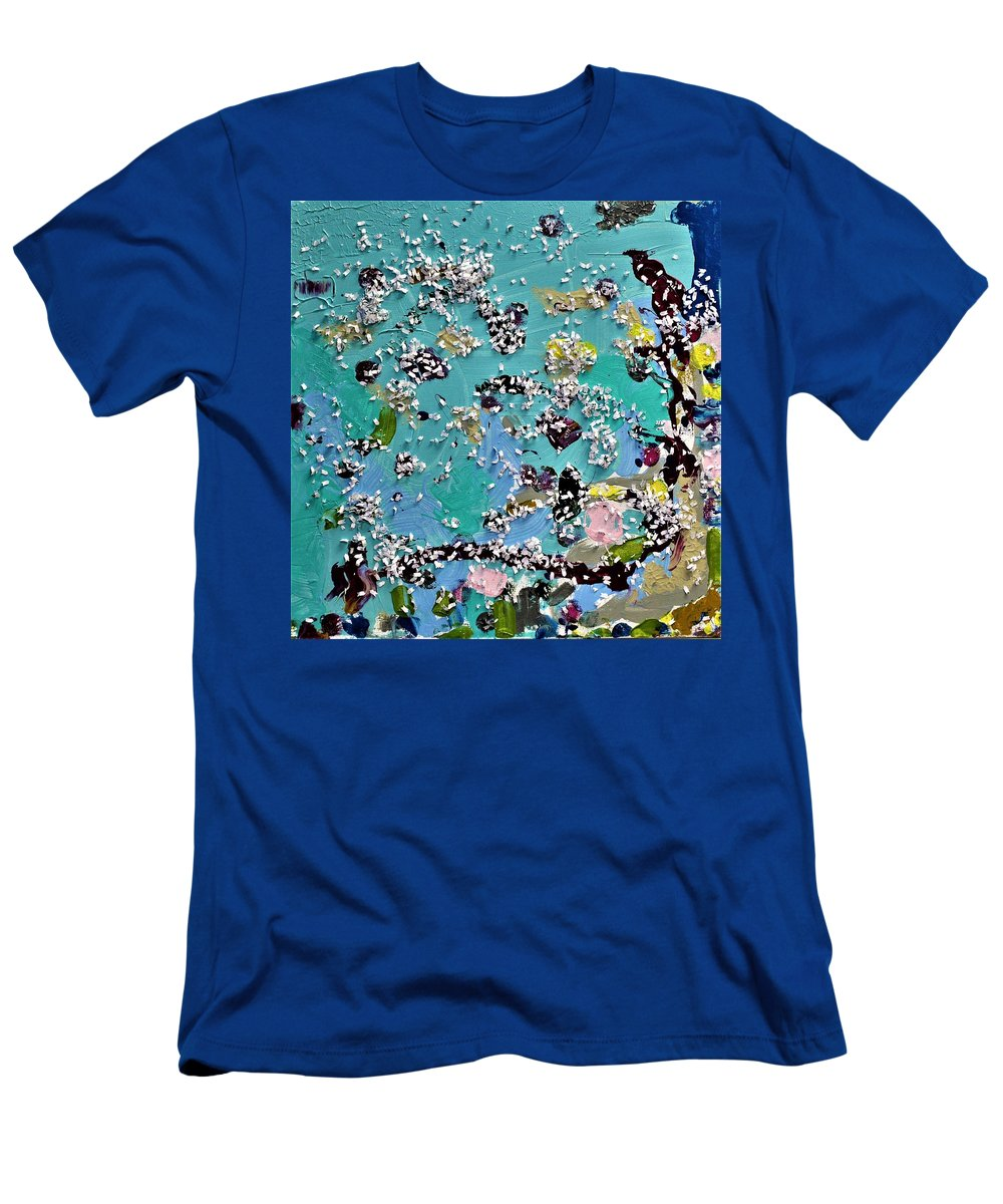 Blue T-Shirt featuring the painting Party Time by Pam Roth O'Mara