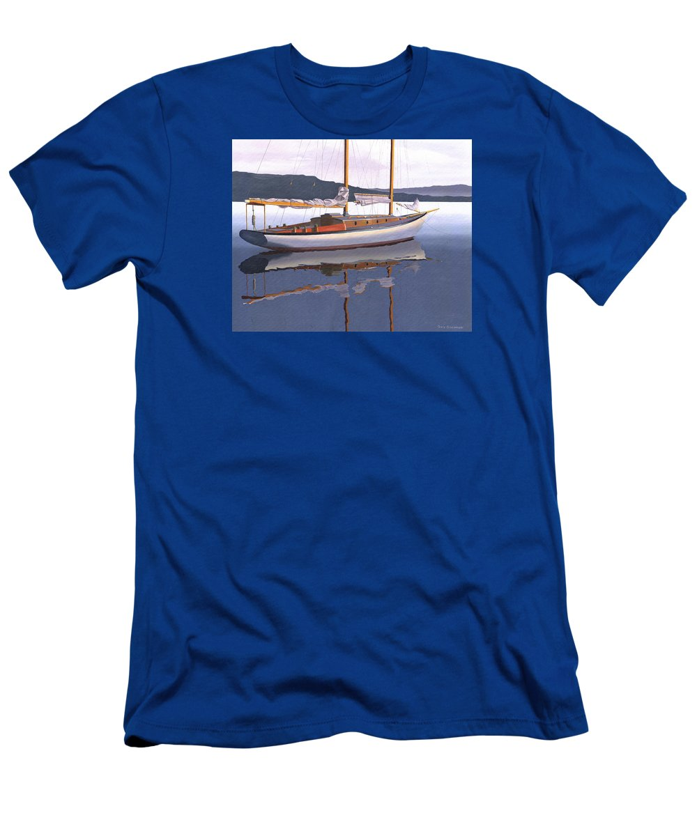 Schooner T-Shirt featuring the painting Schooner at dusk by Gary Giacomelli
