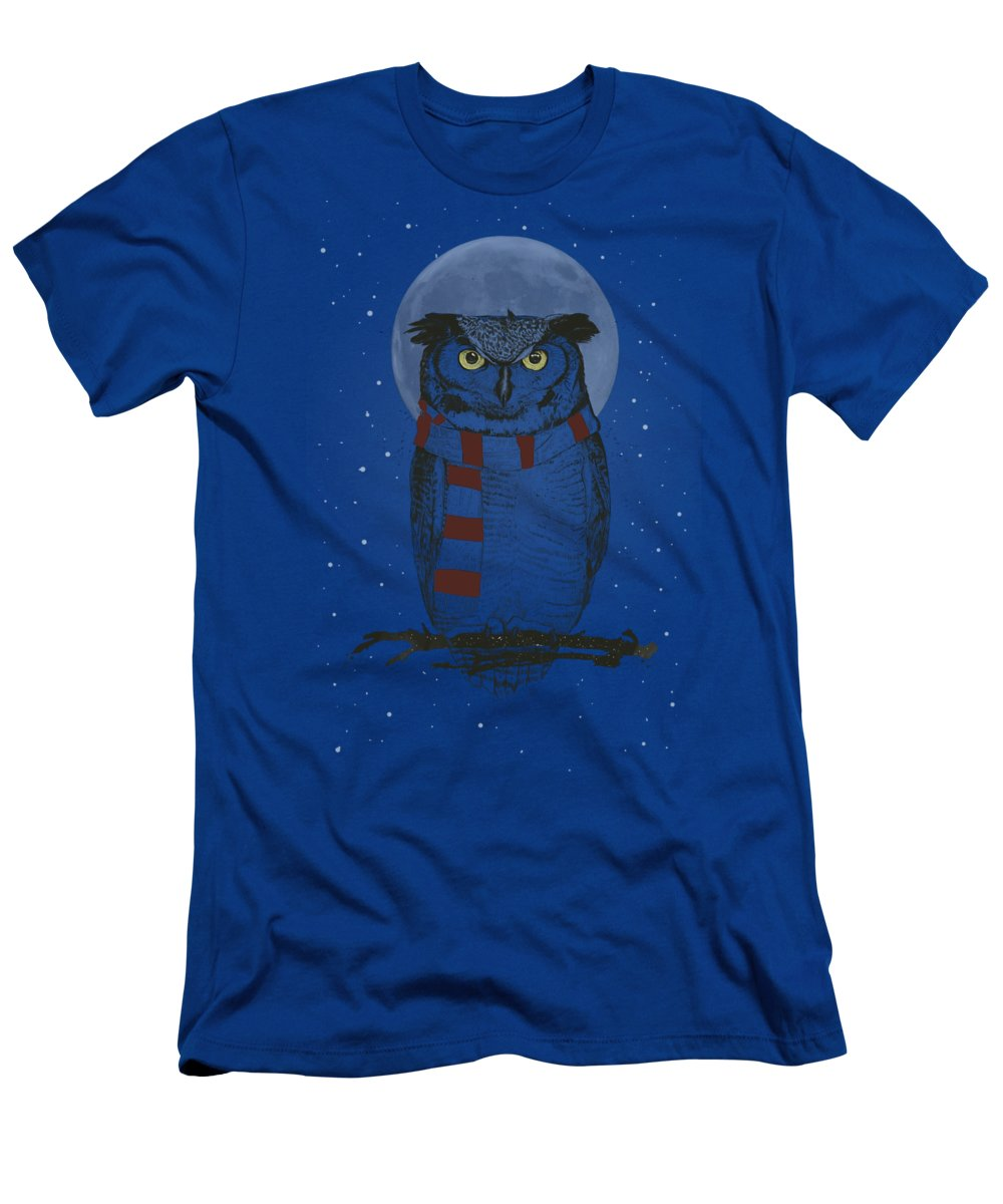 Owl T-Shirt featuring the drawing Winter owl II by Balazs Solti