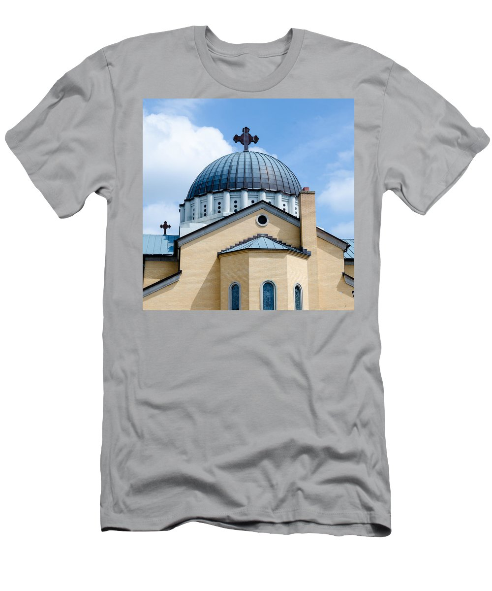 Holy Men's T-Shirt (Athletic Fit) featuring the photograph Exterior Of Holy Trinity Gree by Alex Grichenko