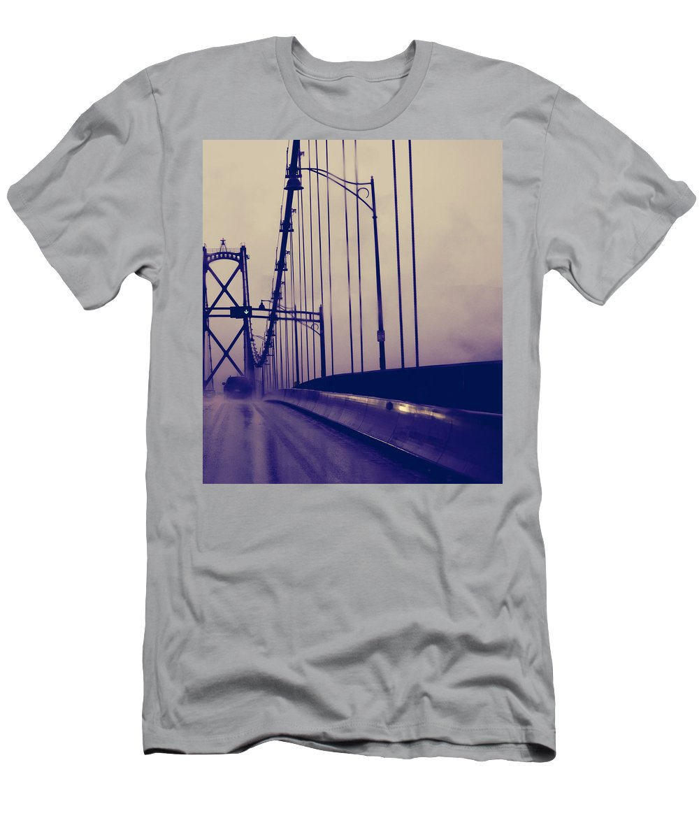 Street Photography Men's T-Shirt (Athletic Fit) featuring the photograph Me And The Rain by The Artist Project