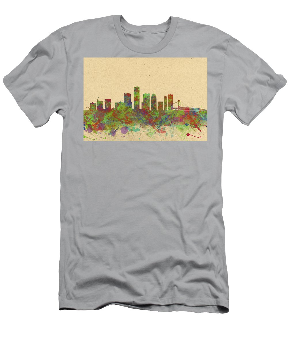 Detroit Men's T-Shirt (Athletic Fit) featuring the photograph Skyline Of Detroit Usa by Chris Smith