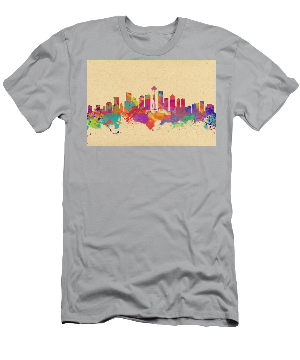 Seattle Men's T-Shirt (Athletic Fit) featuring the photograph Skyline Of Seattle Usa by Chris Smith