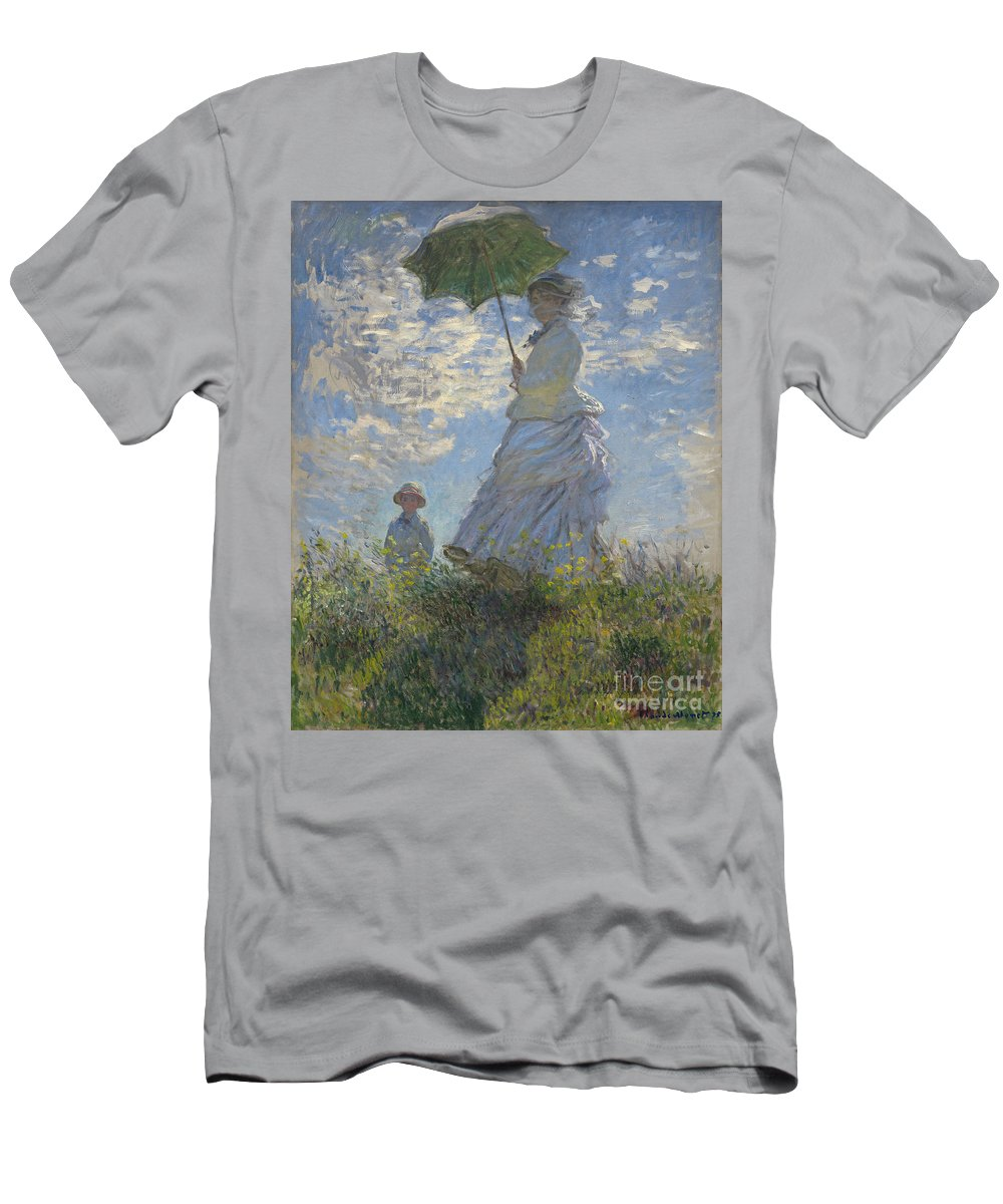 Female; Male; Boy; Child; Hill; Walking; Walk; Stroll; Summer; Outdoors; Mother; Hat; Impressionist; Artists Men's T-Shirt (Athletic Fit) featuring the painting Woman With A Parasol Madame Monet And Her Son by Claude Monet
