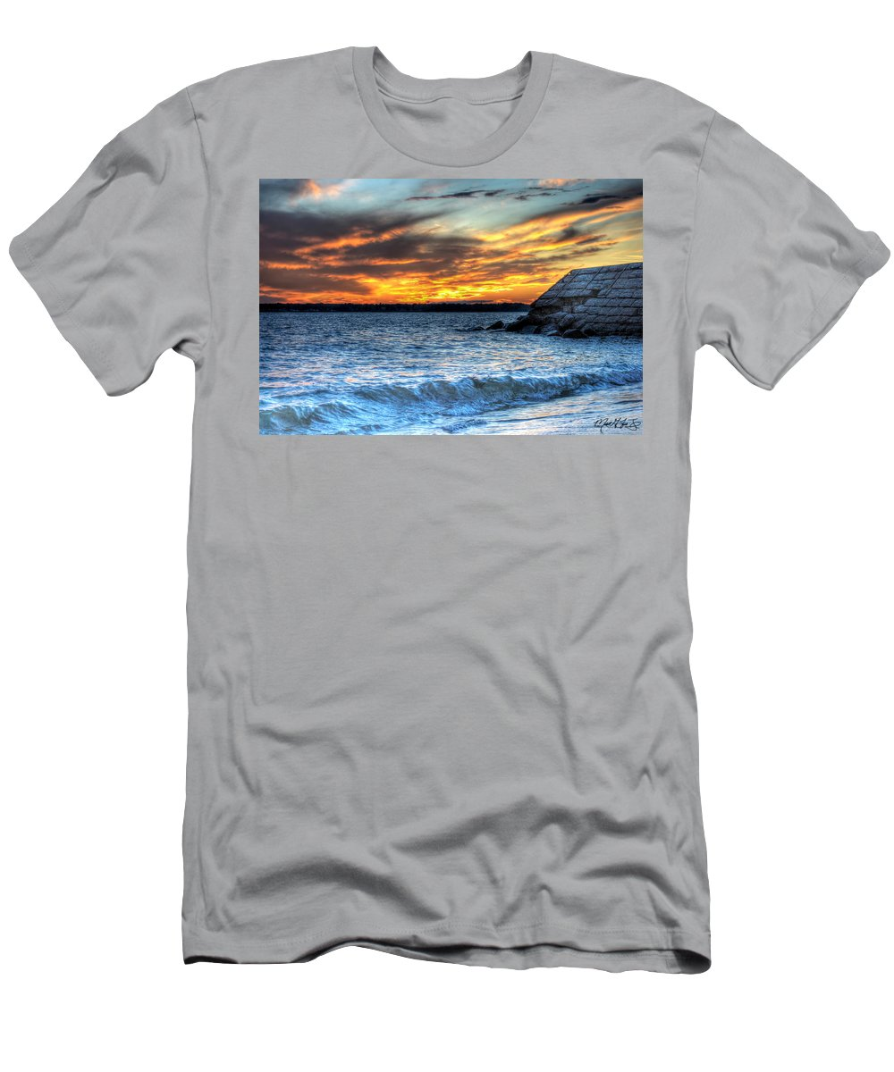 Sunset Men's T-Shirt (Athletic Fit) featuring the photograph 0015 Awe In One Sunset Series At Erie Basin Marina by Michael Frank Jr