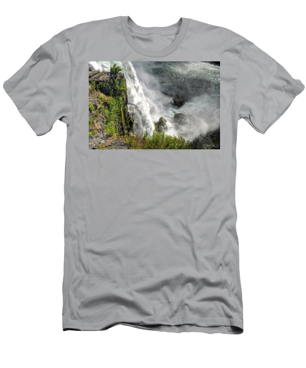 Niagara Falls Men's T-Shirt (Athletic Fit) featuring the photograph 008 Niagara Falls Misty Blue Series by Michael Frank Jr