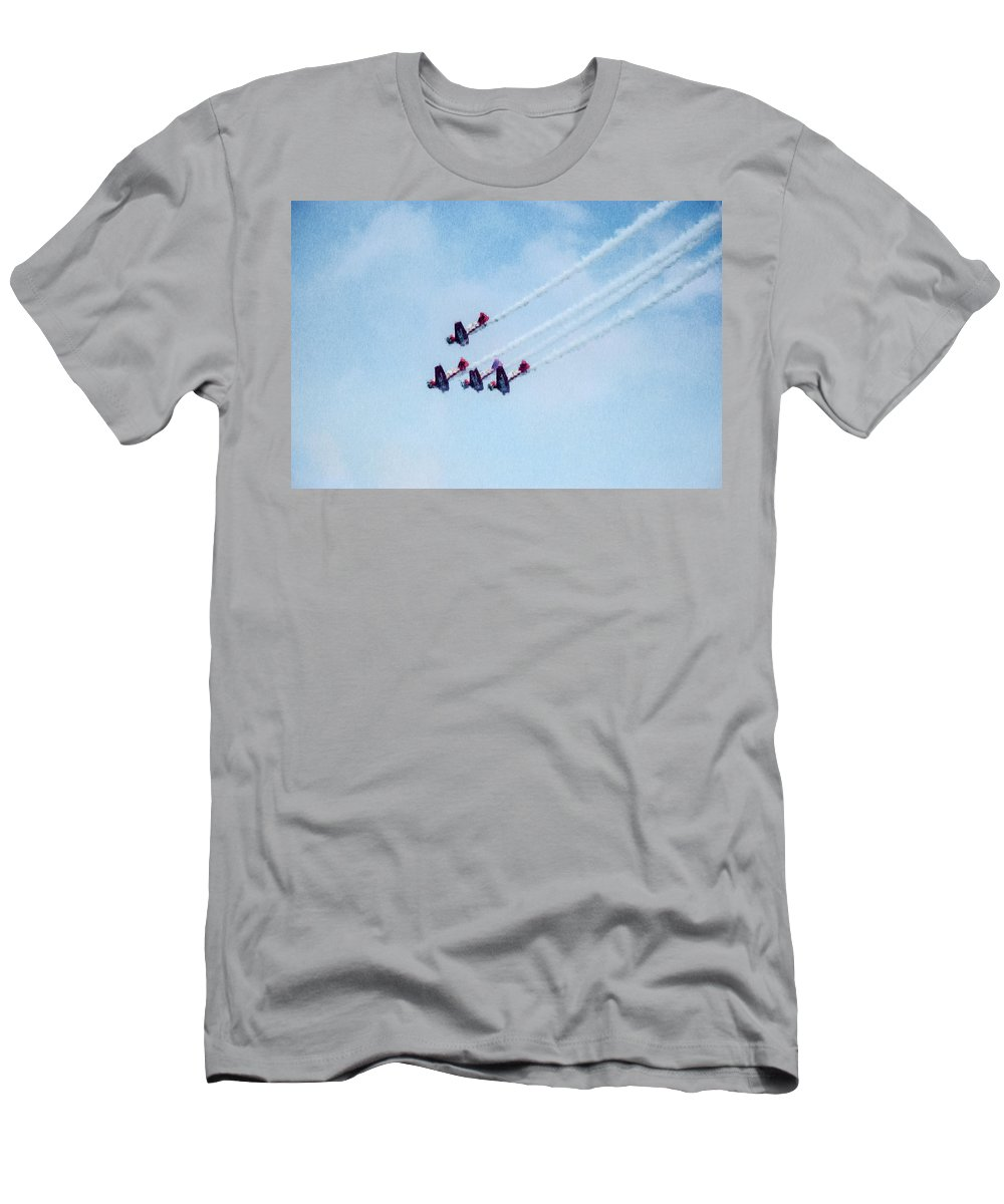 Chicago Men's T-Shirt (Athletic Fit) featuring the digital art 0161 - Air Show - Expressionist Plein Air by David Lange