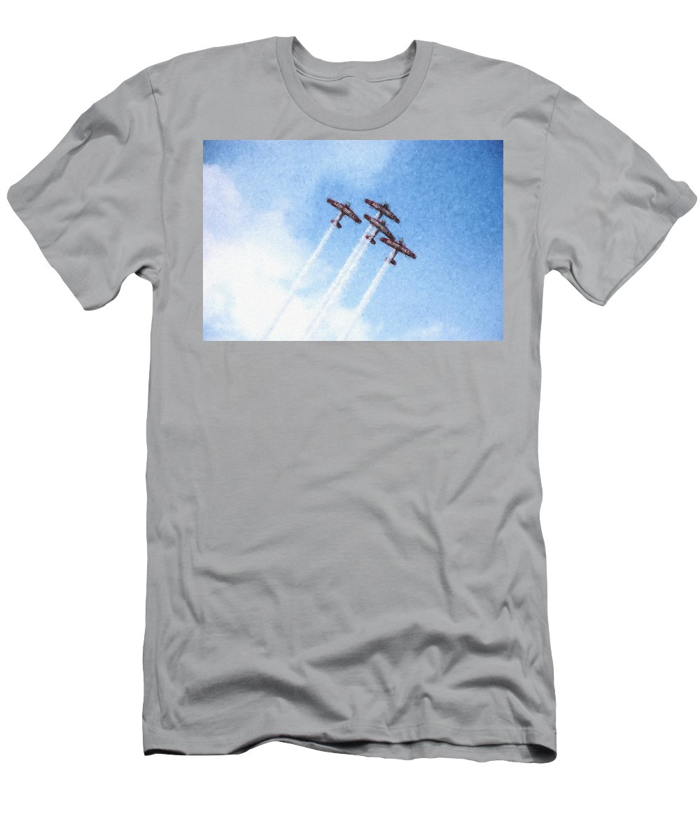 Chicago Men's T-Shirt (Athletic Fit) featuring the digital art 0166 - Air Show - Pastel Chalk 2 by David Lange