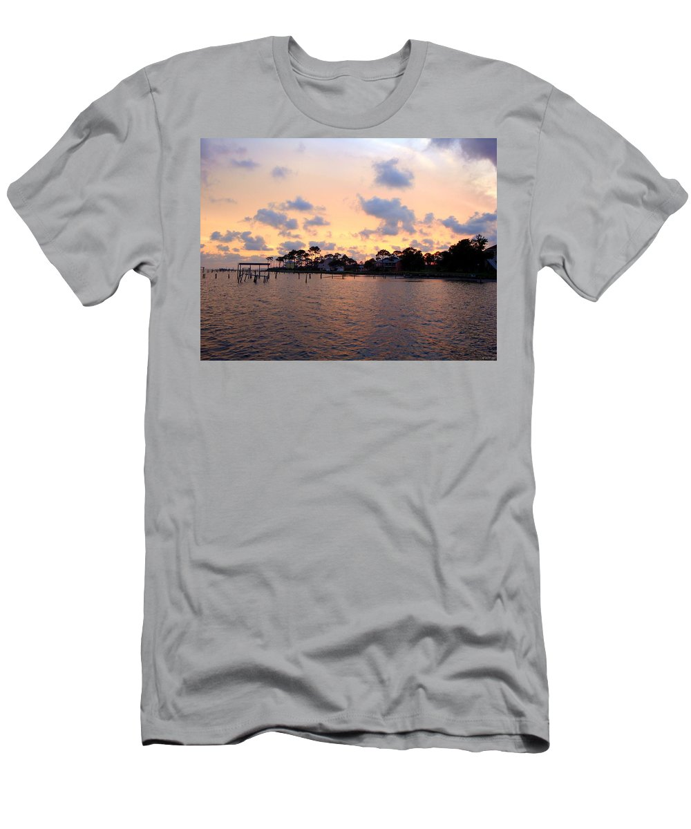 20110530 Men's T-Shirt (Athletic Fit) featuring the photograph 0530 Sunset Tree Silhouette Reflections by Jeff at JSJ Photography