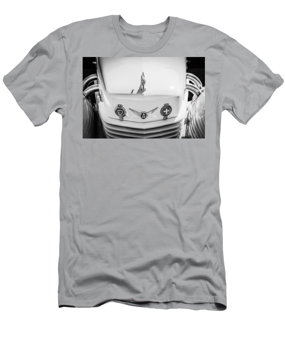 1937 Cord 812 Phaeton Grille Emblems Men's T-Shirt (Athletic Fit) featuring the photograph 1937 Cord 812 Phaeton Grille Emblems by Jill Reger
