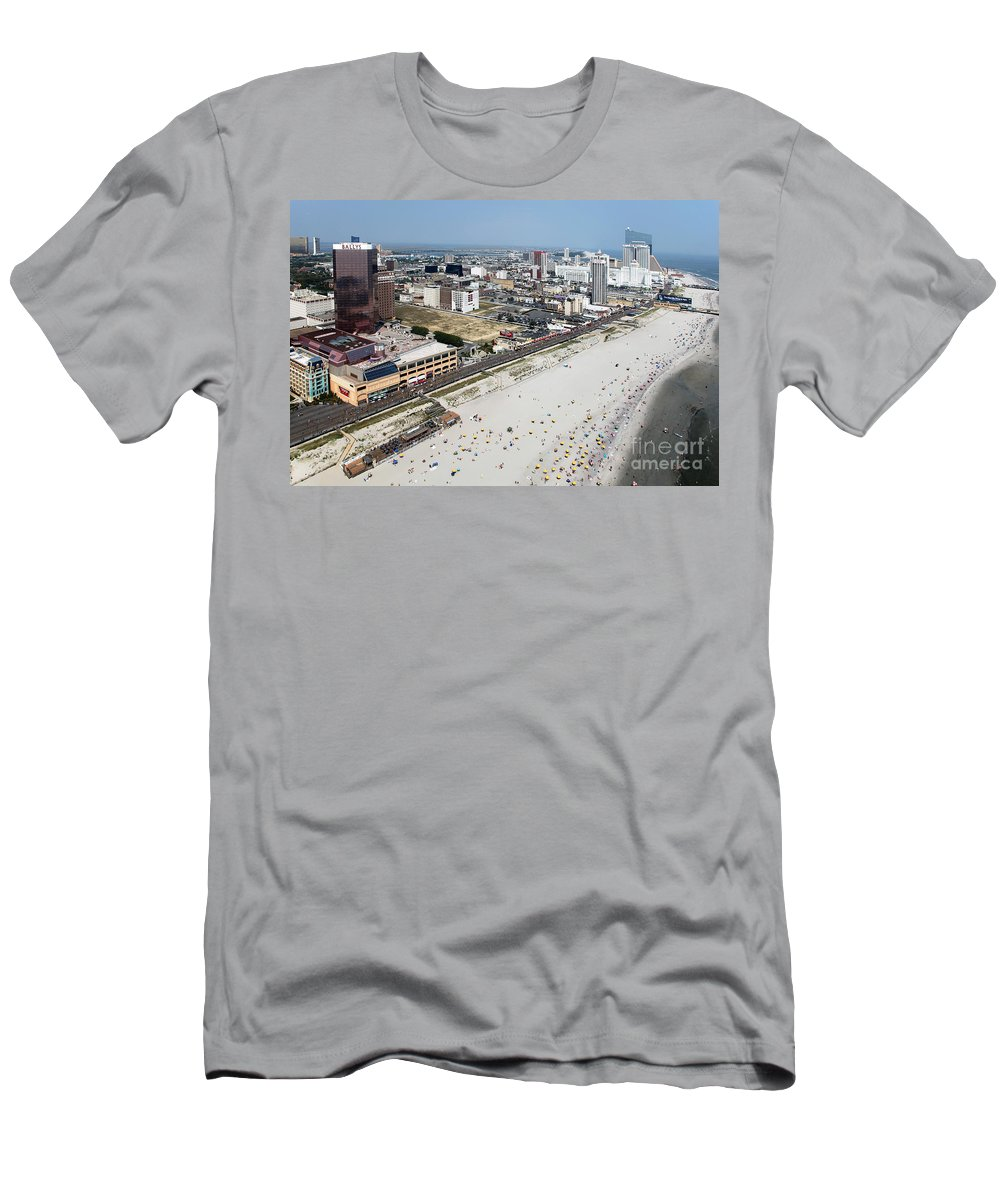 Aerial Men's T-Shirt (Athletic Fit) featuring the photograph Aerial Of Downtown Atlantic City by Bill Cobb