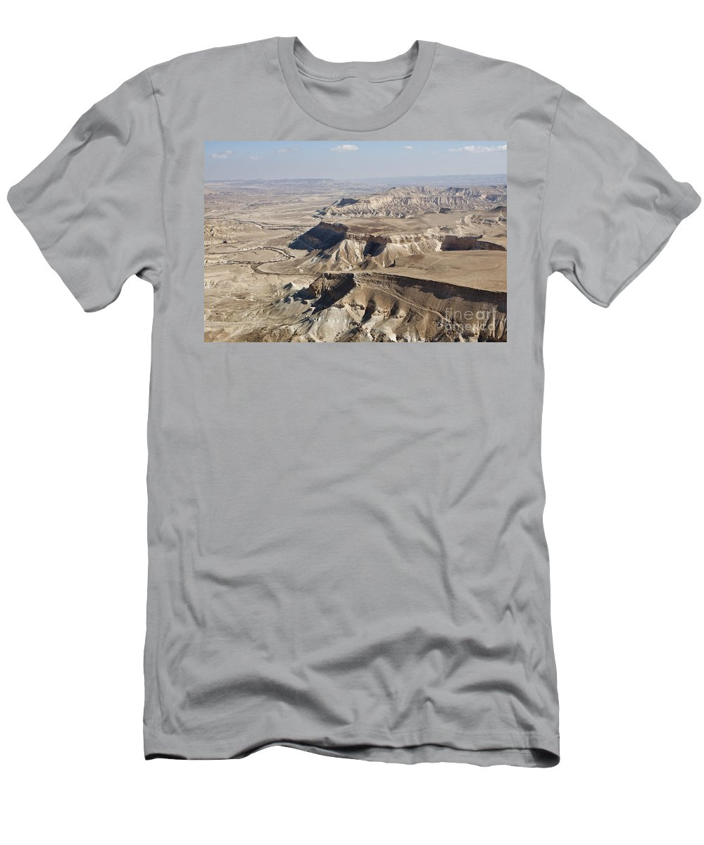 Aerial View Men's T-Shirt (Athletic Fit) featuring the photograph 1-aerial Photography Of The Negev by Nir Ben-Yosef