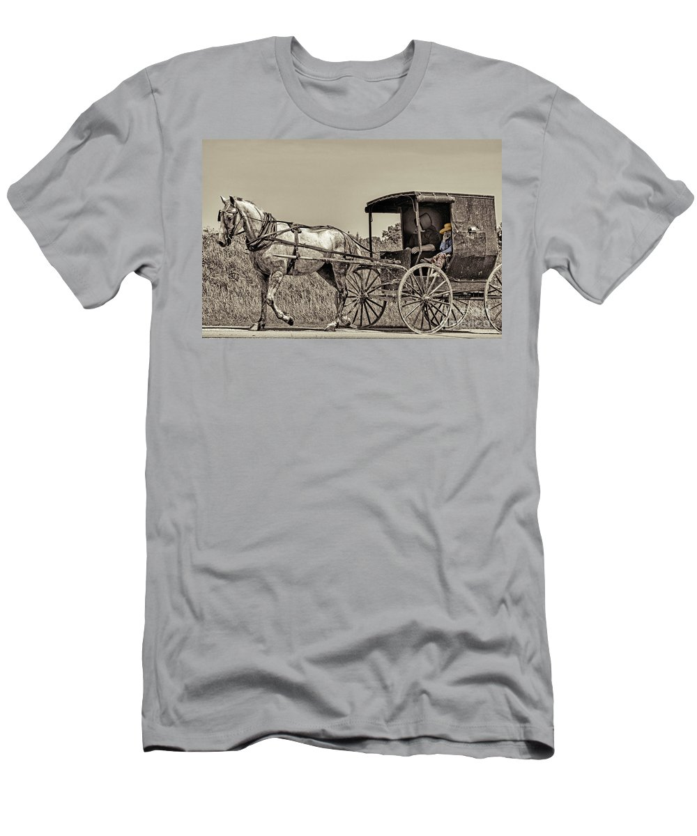 Horse Men's T-Shirt (Athletic Fit) featuring the photograph Amish Boy Tips Hat by Robert Frederick