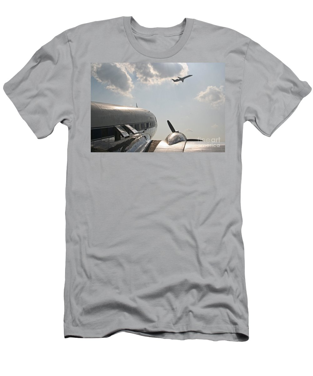 Aircraft Men's T-Shirt (Athletic Fit) featuring the photograph Aviation Past And Present by Kevin McCarthy