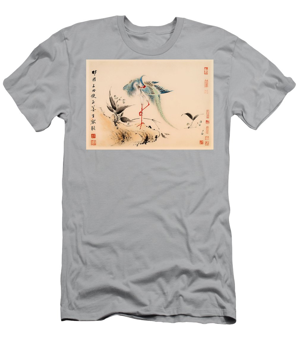 Painting Men's T-Shirt (Athletic Fit) featuring the painting Birds And Flowers by Mountain Dreams