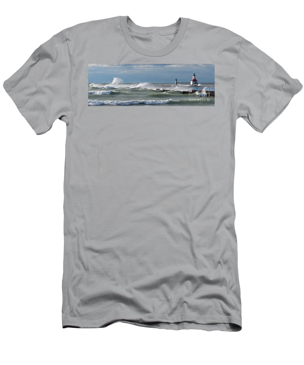 Lake Michigan Men's T-Shirt (Athletic Fit) featuring the photograph Blow Wind Blow by Ann Horn