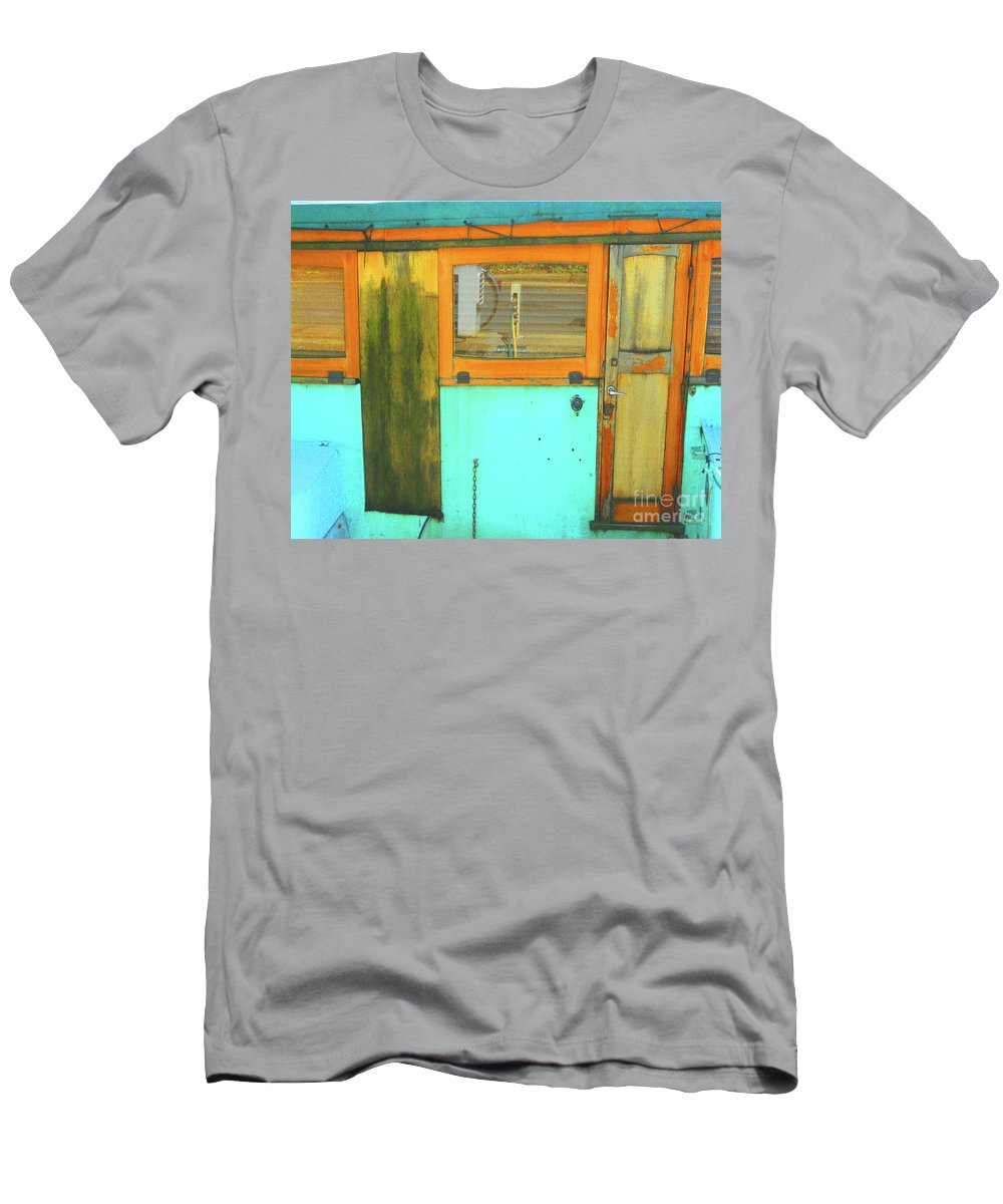 Abstract Men's T-Shirt (Athletic Fit) featuring the photograph Blue Boat by Lauren Leigh Hunter Fine Art Photography