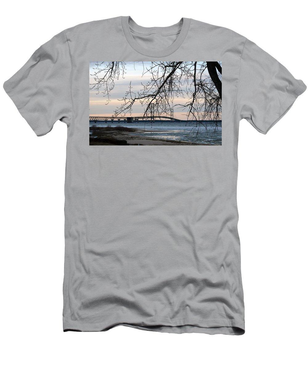 Mackinaw Bridge Men's T-Shirt (Athletic Fit) featuring the photograph Bridge by Linda Kerkau