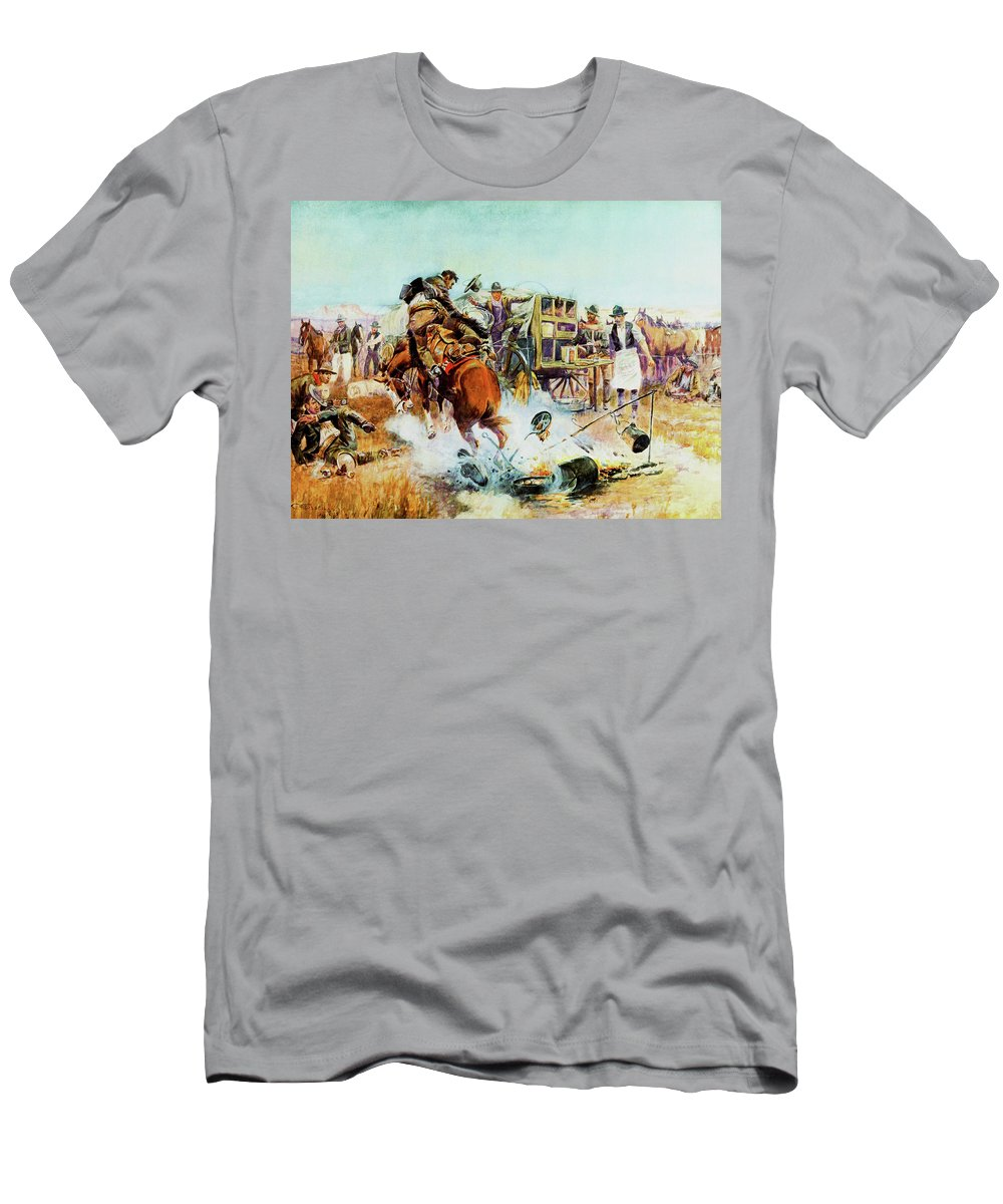 Charles Russell Men's T-Shirt (Athletic Fit) featuring the digital art Bronc For Breakfast by Charles Russell