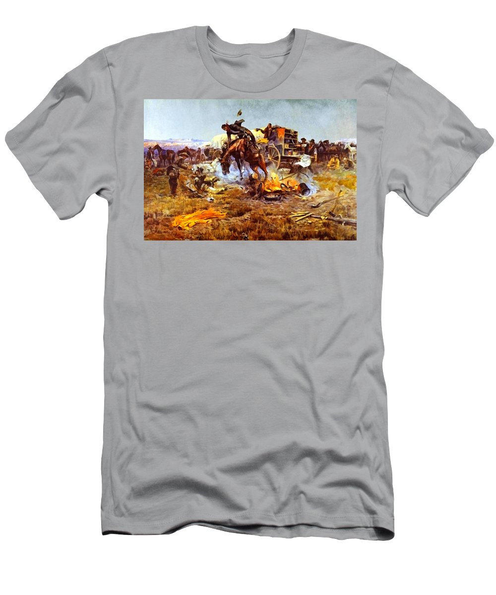 Charles Russell Men's T-Shirt (Athletic Fit) featuring the digital art Camp Cooks Trouble by Charles Russell