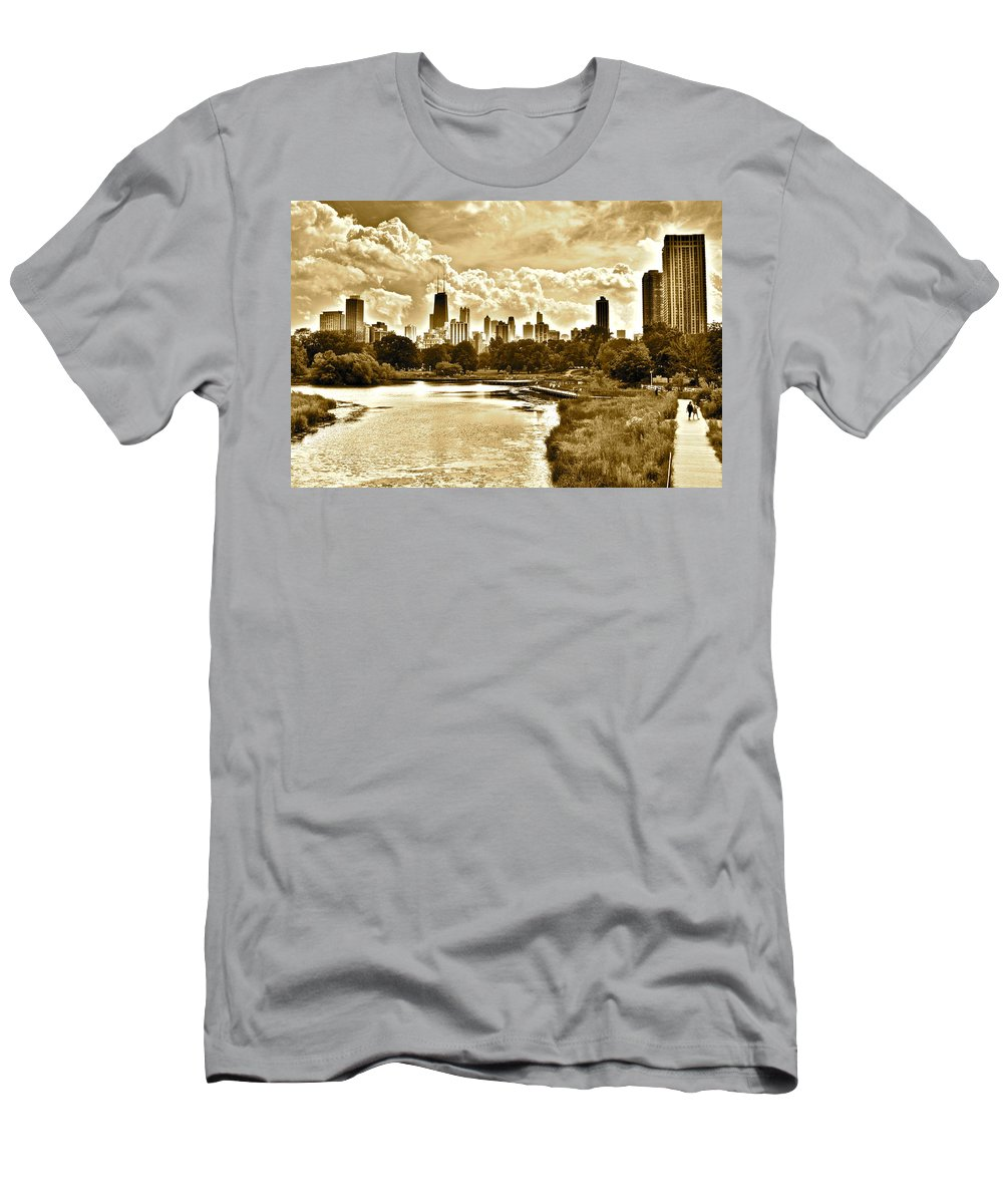 Chicago Men's T-Shirt (Athletic Fit) featuring the photograph Chicago In Sepia by Frozen in Time Fine Art Photography