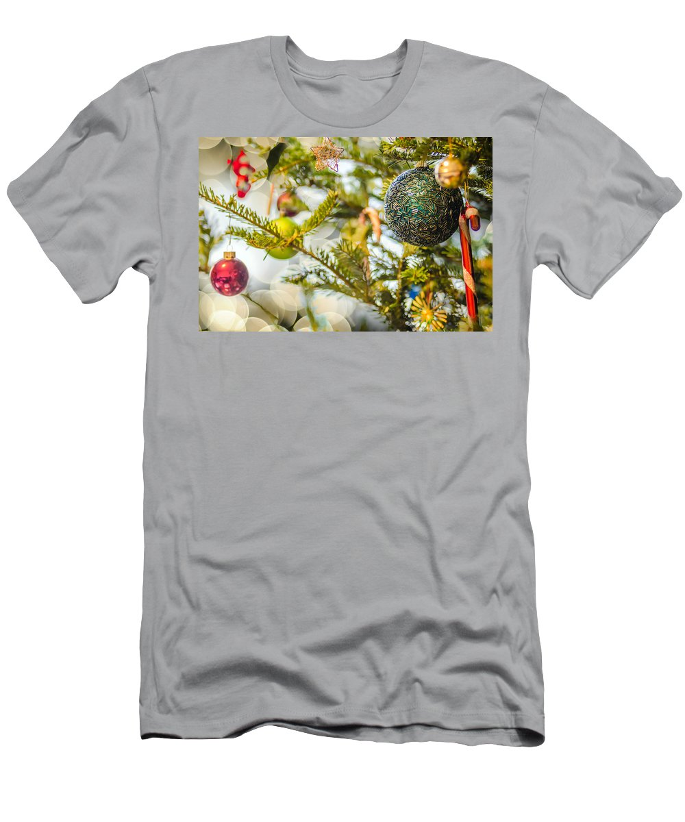 And Men's T-Shirt (Athletic Fit) featuring the photograph Christmas Tree Ornaments And Decorations by Alex Grichenko